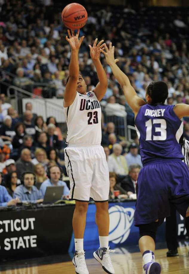 UConn's Kaleena Mosqueda-Lewis. UConn vs. Kansas State in the second round of the NCAA women's basketball tournament at the Webster Bank Arena in Bridgeport on Monday, March 19, 2012. Photo: Brian A. Pounds / Connecticut Post