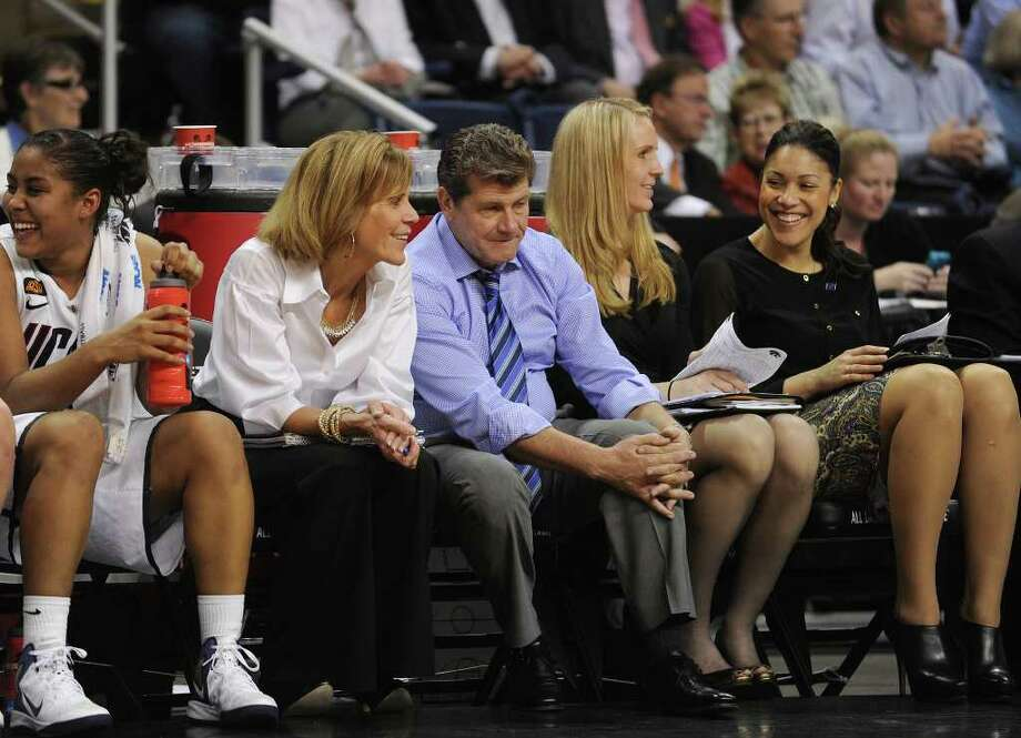 UConn coaches. UConn vs. Kansas State in the second round of the NCAA women's basketball tournament at the Webster Bank Arena in Bridgeport on Monday, March 19, 2012. Photo: Brian A. Pounds / Connecticut Post
