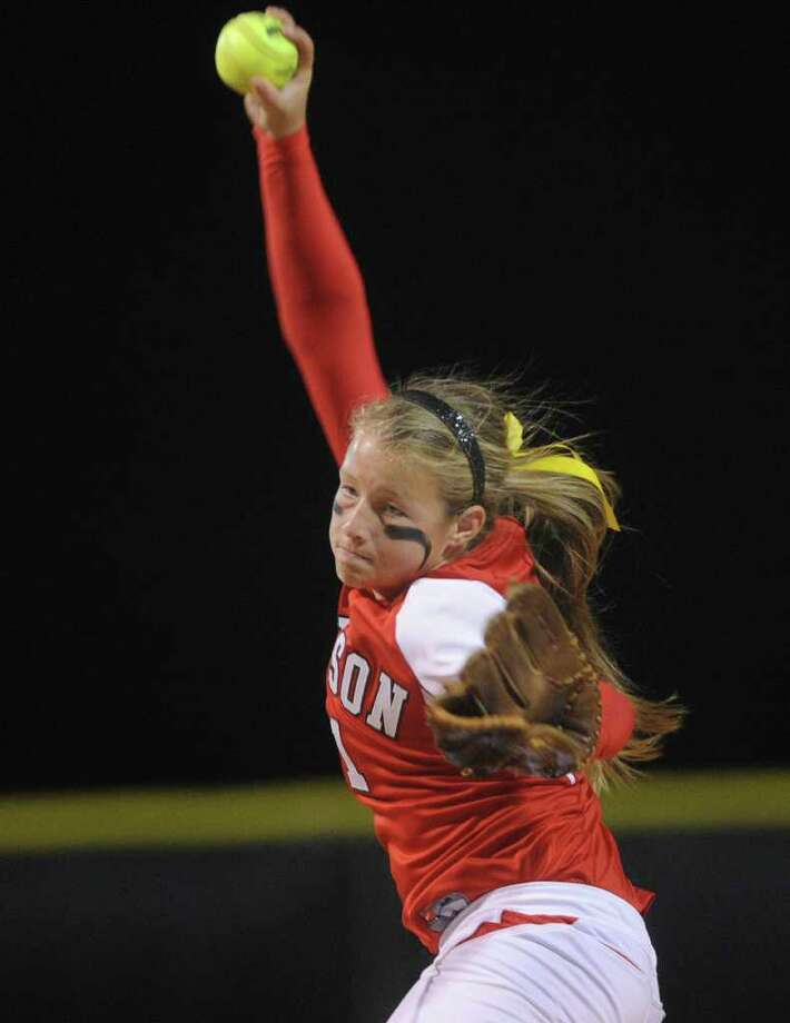 Judson pitcher Emily Mueller — seen here during a 2011 game against Madison — threw two shutouts while allowing one hit combined to Incarnate Word and Wagner. She struck out 20 in 8⅔ innings, and added a two-run double against Wagner. Photo: Billy Calzada, San Antonio Express-News