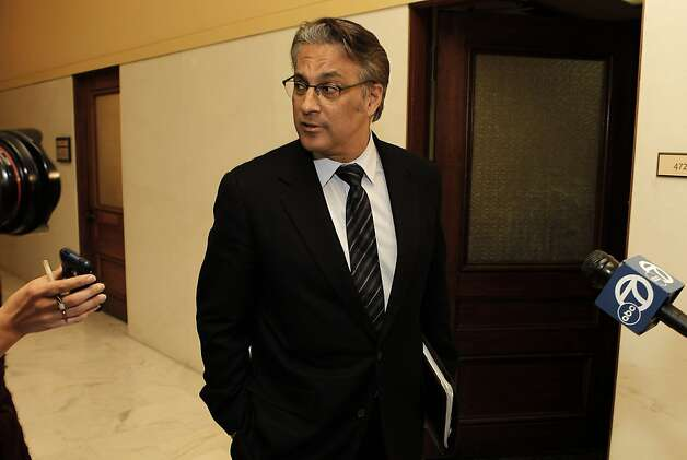 San Francisco Sheriff Ross Mirkarimi stops in front of his city Hall office after a meeting with Mayor Ed Lee,  on Monday March 19, 2012, in San Francisco, Ca. Mirkarimi had no comment after his meeting with the Mayor. Photo: Michael Macor, SFC