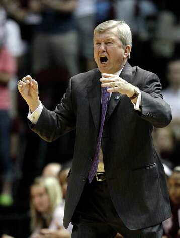 Texas A&M coach Gary Blair yells to his team during the first half of an NCAA women's tournament second-round college basketball game against Arkansas on Monday, March 19, 2012, in College Station. Photo: Associated Press