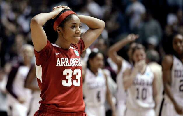Arkansas' Lyndsay Harris (33) reacts after Arkansas' 61-59 loss to Texas A&M in an NCAA tournament second-round women's college basketball game Monday, March 19, 2012, in College Station. Photo: Associated Press