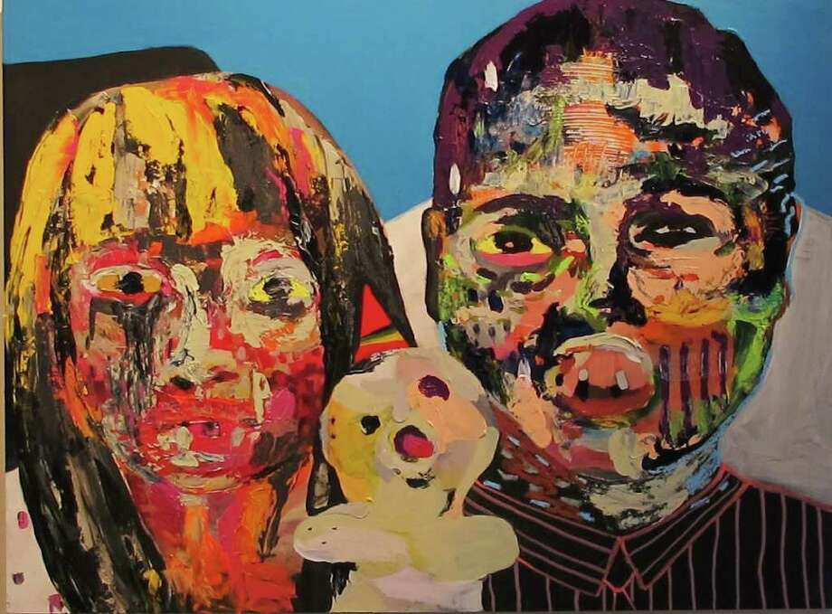 "Though artist Linda Arredondo focuses on female faces in the exhibit ""Animals Who Wear Make-Up,"" this painting, ""Birthday,"" references family portraits. Photo: Courtesy Ana Fernandez"