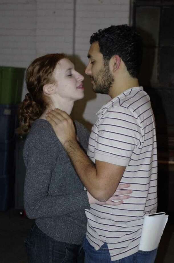 Sarah Nixon (from left) and Aaron Aguilar rehearse a scene from 'Macbeth' for the Proxy Theatre Company. Courtesy Proxy Theatre Company