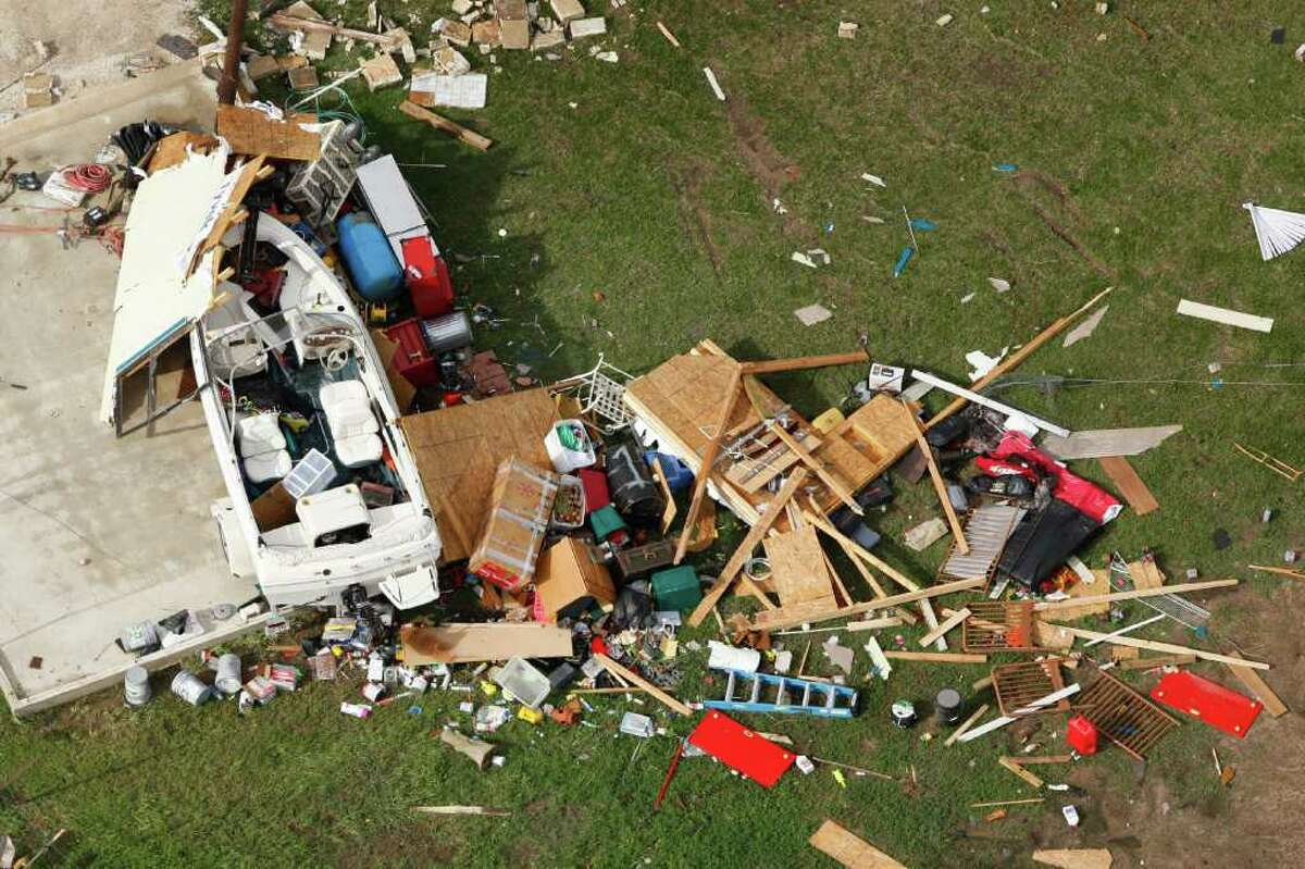 An aerial shows tornado damage in the Devine area on Tuesday, March 20, 2012. A tornado touched down Monday night in Devine damaging 15 homes, according to local offials. andthe in Devine area. WIlliam Luther/ San Antonio Express-News