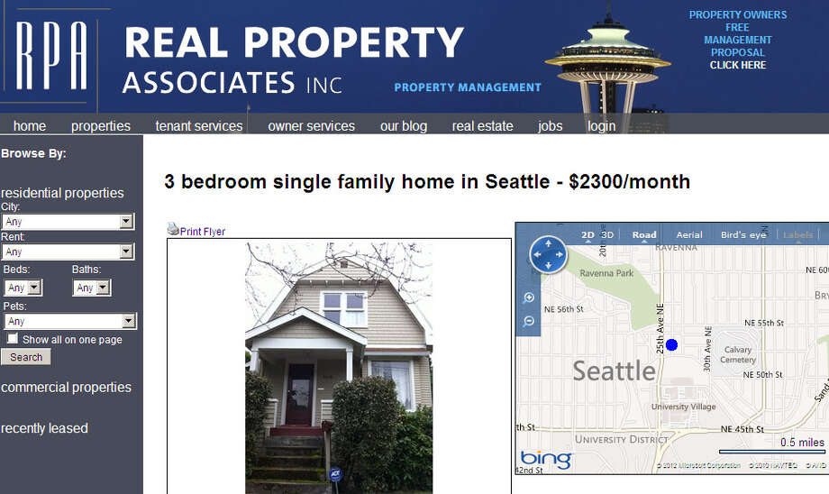 A screen shot of a home rental listing. Photo: Real Property Associates