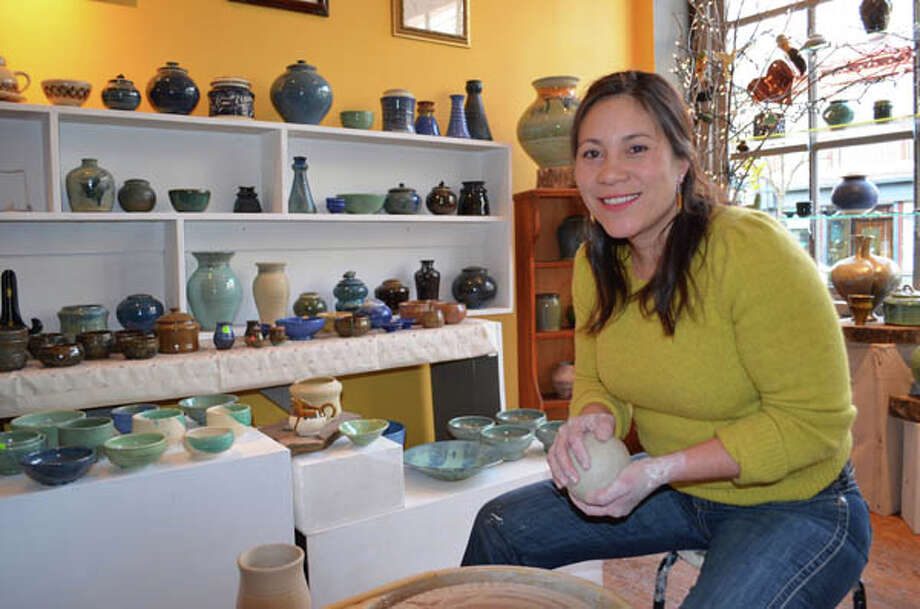 "Bianca Dupuis, potter and owner of The Broken Mold in Troy, makes bowls, mugs, plates, and other ""functional items."" Read the story here. Photo: Photos By Tyler Murphy/Life@Home"
