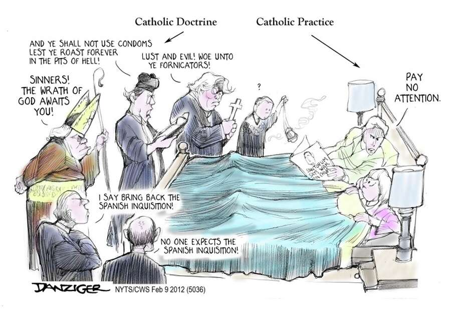 Catholic Church, Birth Control, health insurance, political cartoon Photo: Jeff Danziger, Selected By The Observation Deck / c Jeff Danziger 2012