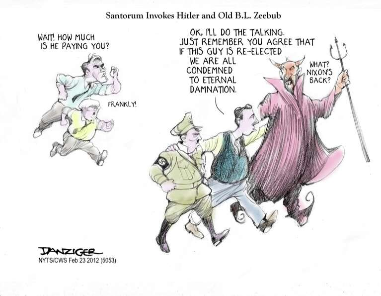Santorum, Devil, Hitler, Romney, Gingrich, political cartoon
