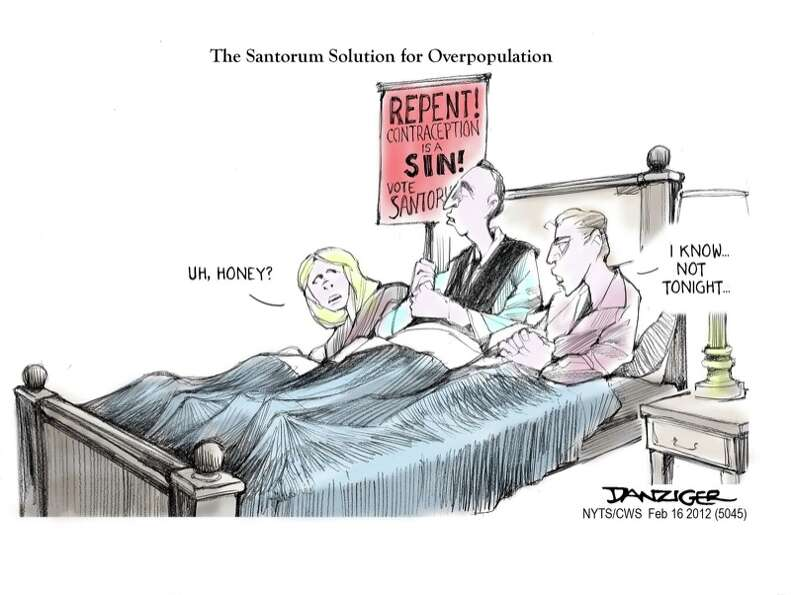 Rick Santorum, Overpopulation, Contraception, political cartoon