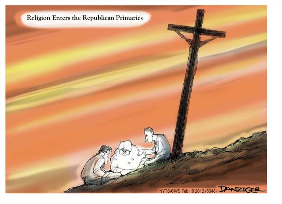Republican Primaries, Romney, Gingrich, Santorum, Religion, political cartoon Photo: JEFF DANZIGER, Selected By The Observation Deck / c Jeff Danziger 2012