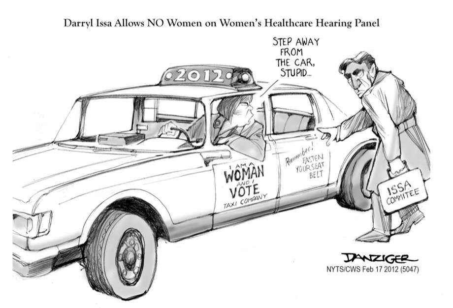 Women' Healthcare panel, Contraception, Darryl Issa Committee, no women, car alsarms,political cartoon Photo: JEFF DANZIGER, Selected By The Observation Deck / c Jeff Danziger 2012