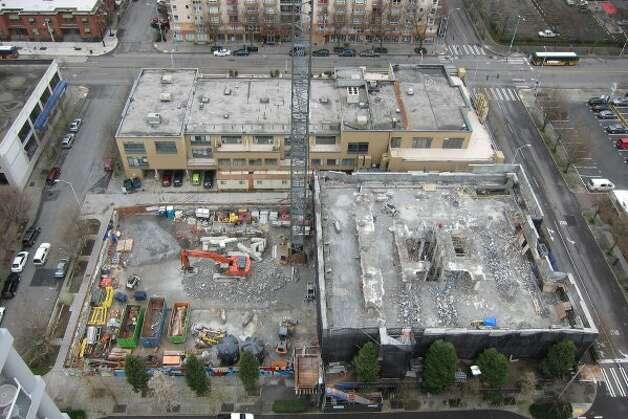 Aerial view of the McGuire building in Belltown. Photo taken on March 10, 2012. (Jay Chan / jaychanphoto.com)