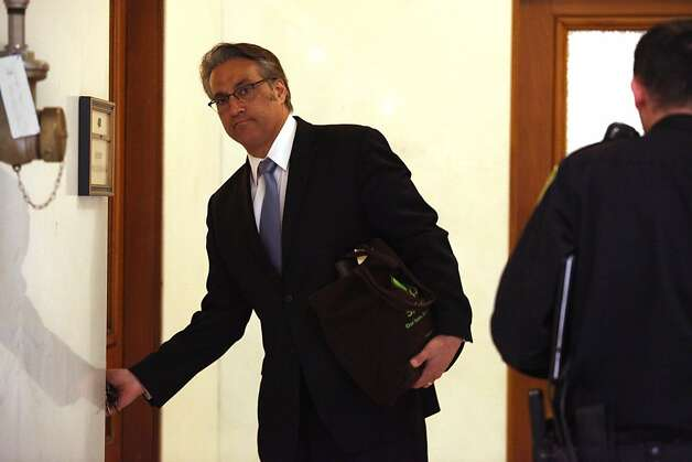 Sheriff Ross Mirkarimi entering his office at city hall in San Francisco, Calif., on Tuesday, March 20, 2012. Photo: Liz Hafalia, The Chronicle