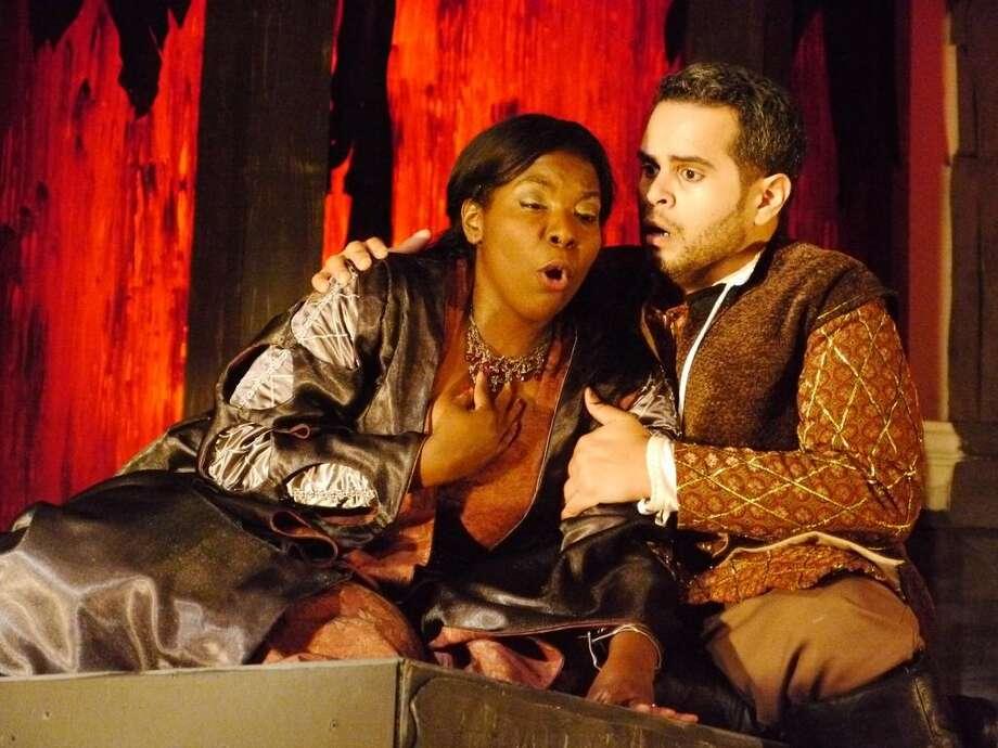 Michelle Johnson (Leonora) and Dominick Rodriguez (Manrico) in Il Trovatore at Opera in the Heights Photo by Davis Tucker Photo: Davis Tucker / handout