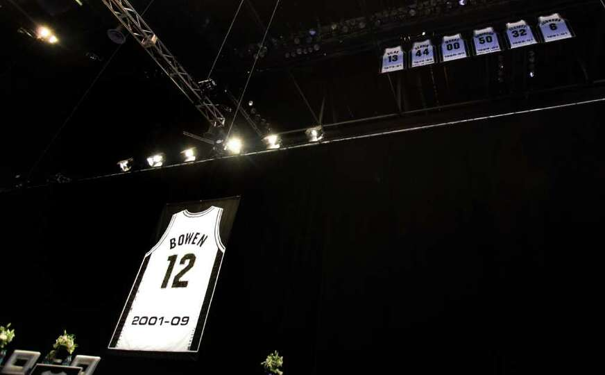 Luncheon for Bruce Bowen jersey retirement at the ATT Center, Monday, March 19, 2012.  Bob Owen/San