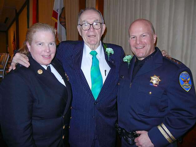 SFFD Chief Joanne Hayes-White (left) with Hibernian of the Year Walt Farrell and SFPD Chief Greg Suhr at the Hibernian Newman lunch. March 2012. By Catherine Bigelow. Photo: Catherine Bigelow, Special To The Chronicle