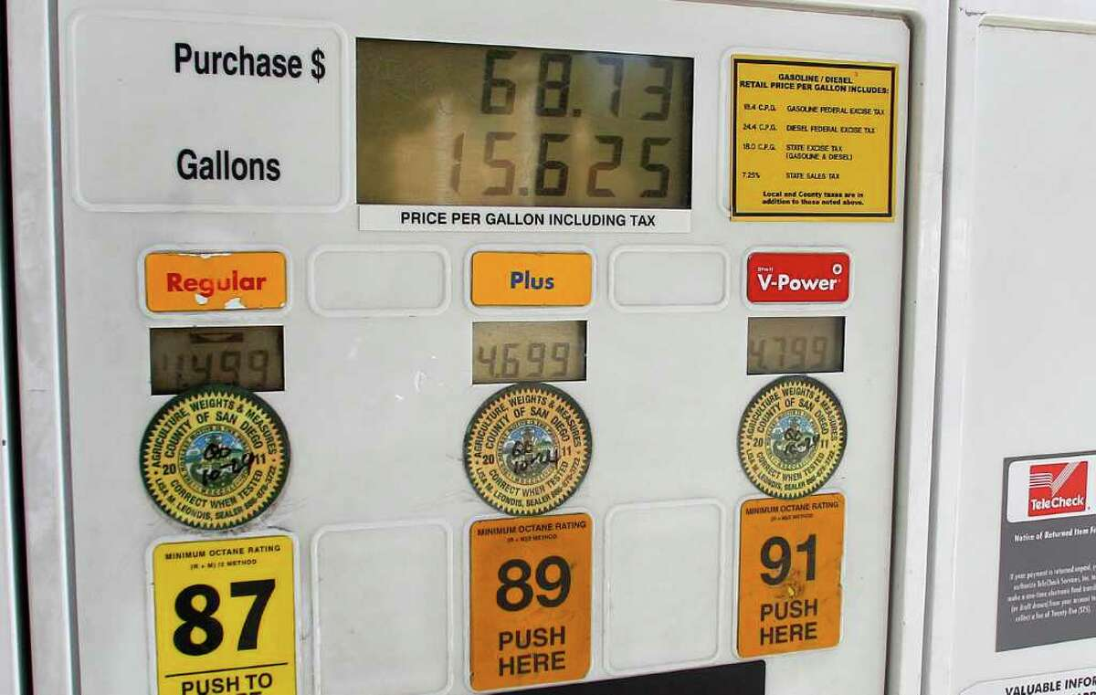 In this Feb. 21, 2012 photo, the pump at a Shell Oil gas station shows a purchase of more than $68.73 for 15.6 gallons of gas prices in Del Mar, Calif. Americans have pumped less gas every week for the past year. It's a startling slide that's now longer than the decline seen during the recession. Soaring pump prices have forced people to drive less and buy more efficient cars. (AP Photo/Lenny Ignelzi)
