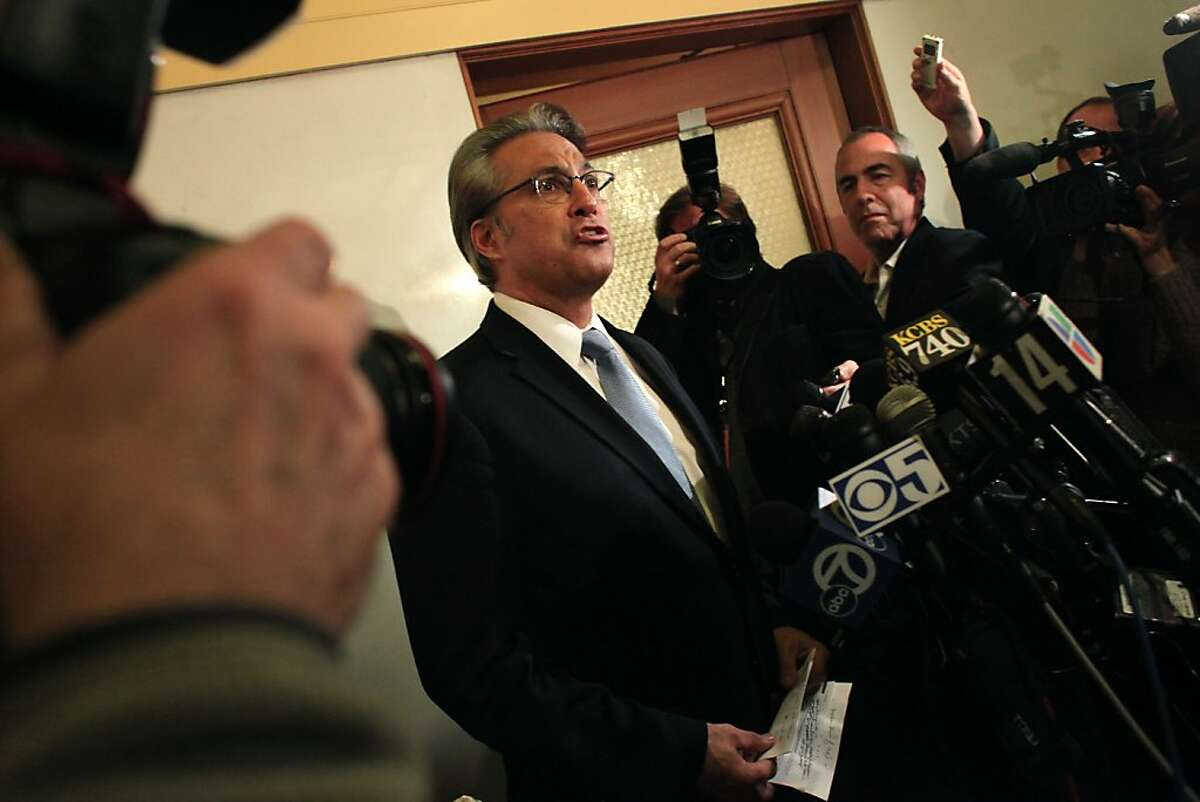 Sheriff Ross Mirkarimi announces that he does not plan to resign during a press conference outside his office at City Hall on Tuesday, March 20, 2012 in San Francisco, Calif.