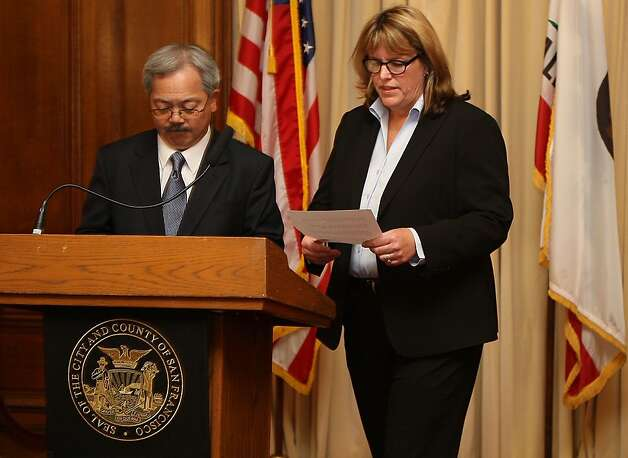 Mayor Ed Lee (left) is suspending Sheriff Ross Mirkarimi and appointing veteran law enforcement official Vicki Hennessy (right) to take his place which he announced at his office at city hall in San Francisco, Calif., on Tuesday, March 20, 2012. Photo: Liz Hafalia, The Chronicle