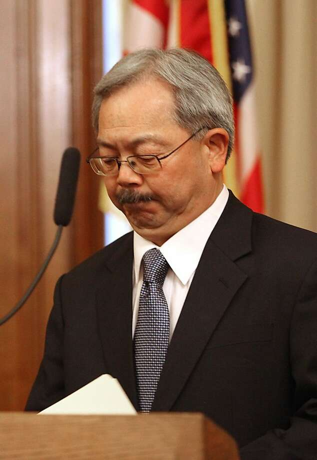 Mayor Ed Lee is suspending Sheriff Ross Mirkarimi and appointing veteran law enforcement official Vicki Hennessy to take his place which he announced at his office at city hall in San Francisco, Calif., on Tuesday, March 20, 2012. Photo: Liz Hafalia, The Chronicle