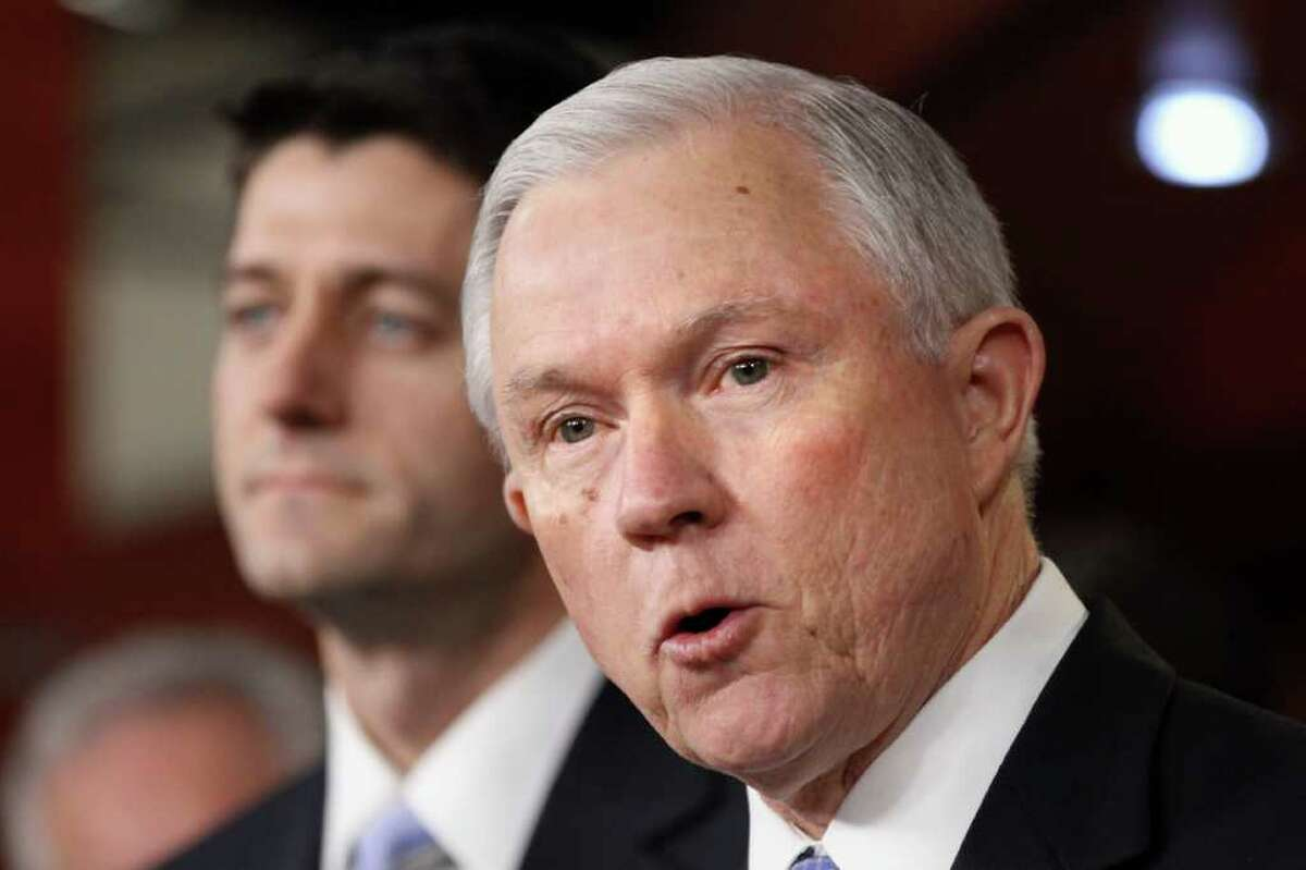 Sen. Jeff Session, R-Ala., ranking Republican on the Senate Budget Committee, right, accompanied by House Budget Committee Chairman Rep. Paul Ryan, R-Wis., speaks about Ryan's budget plan during a news conference on Capitol Hill in Washington, Tuesday, March 20, 2012. (AP Photo/Jacquelyn Martin)