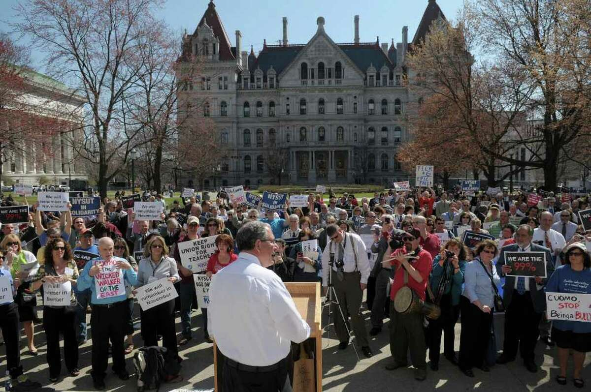 Andy Pallotta, executive vice president of New York State United Teachers, addresses those gathered for a rally by members of NYSUT and other unions supporting them outside the capitol on Tuesday, March 20, 2012 in Albany, NY. (Paul Buckowski / Times Union)