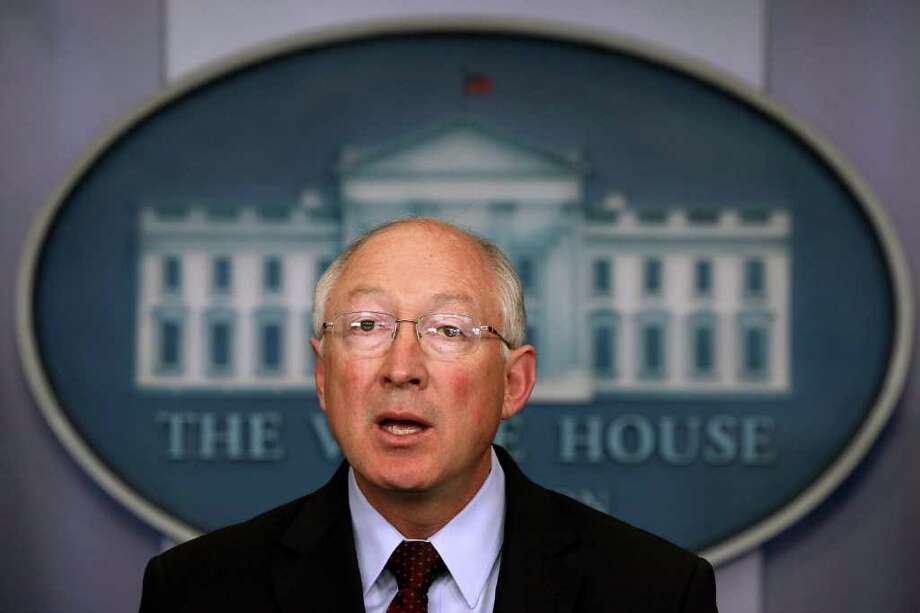 WASHINGTON, DC - MARCH 12:  U.S. Interior Secretary Ken Salazar speaks during the daily press briefing at the James Brady Press Briefing Room of the White House March 12, 2012 in Washington, DC. Salazar spoke on the Blueprint for a Secure Energy Future: One-Year Progress Report that President Barack Obama received today.  (Photo by Alex Wong/Getty Images) Photo: Alex Wong / 2012 Getty Images