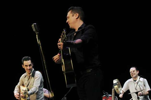 Cast members from the Broadway musical Million Dollar Quartet perform during Proctors 2012-13 Broadway season anouncement in Schenectady, NY Tuesday March 20, 2012. MILLION DOLLAR QUARTET is the new smash-hit musical inspired by the famed recording session that brought together rock 'n' roll icons Elvis Presley, Johnny Cash, Jerry Lee Lewis and Carl Perkins for the first and only time.( Michael P. Farrell/Times Union ) Photo: Michael P. Farrell