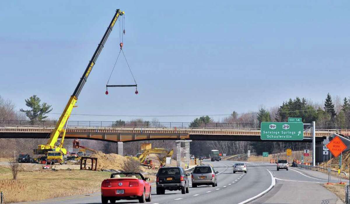 New bridge steel ready to set for a new bridge carrying Route 9P over Interstate 87 in Saratoga Springs Tuesday March 20, 2012. From 7 p.m. Wednesday to 6 a.m. Thursday, two lanes of I-87 southbound will be closed at Exit 14. From 8 p.m. Thursday to 6 a.m. Friday, two lanes of I-87 northbound will be closed at Exit 14. Both evenings, the entire highway will be closed to traffic at five different times after 10 p.m., for approximately 10 minutes each. Motorists should expect delays and consider alternate routes. (John Carl D'Annibale / Times Union)