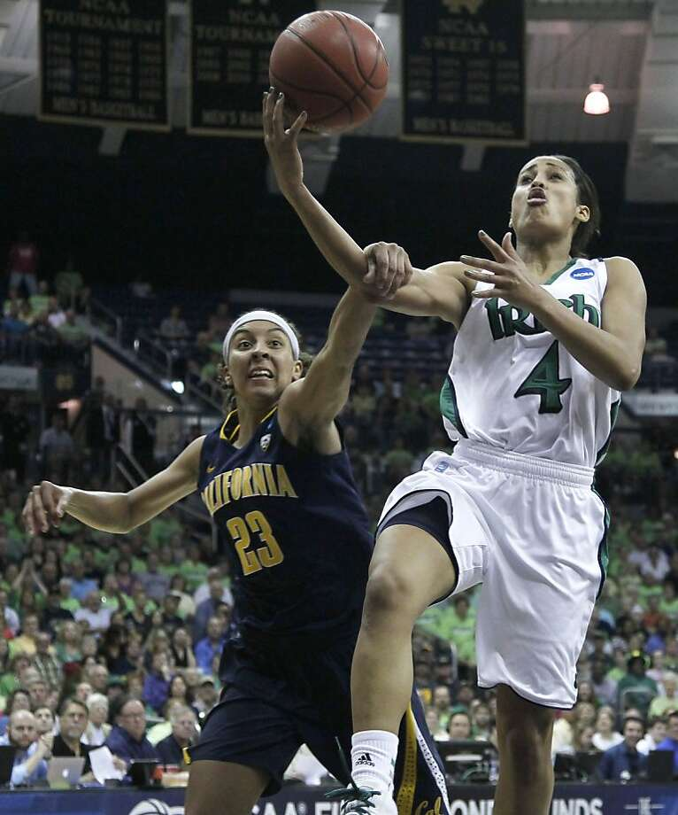 California guard Layshia Clarendon (23) fouls Notre Dame guard Skylar Diggins during the second half of a second-round NCAA women's tournament basketball game in South Bend, Ind., Tuesday, March 20, 2012. Notre Dame won 73-62. Photo: Charles Rex Arbogast, Associated Press