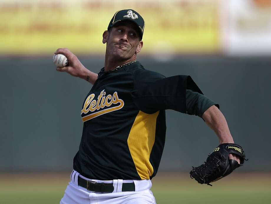 Oakland Athletics relief pitcher Grant Balfour in action against the Arizona Diamondbacks during a spring training baseball game Monday, March 19, 2012 in Phoenix. (AP Photo/Marcio Jose Sanchez) Photo: Marcio Jose Sanchez, Associated Press