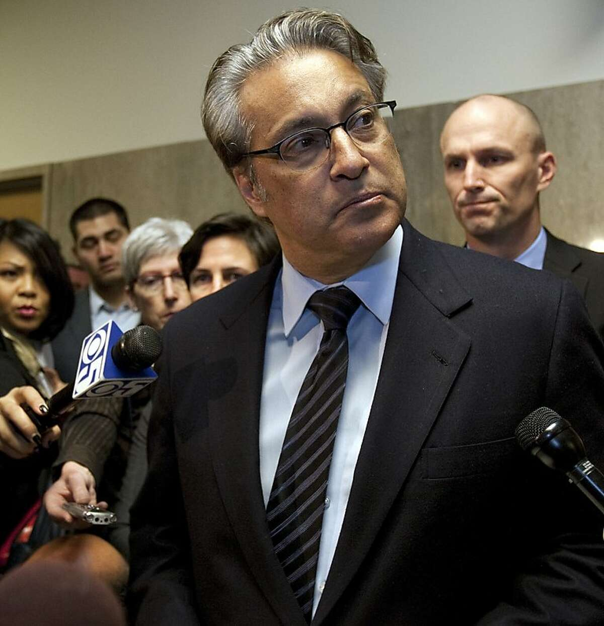 Embattled San Francisco Sheriff Ross Mirkarimi is greeted by a throng of media outside the court room at the San Francisco Hall of Justice after being sentenced to 1 day on jail, 100 hours of community service, 52 weeks of domestic violence training, court fees and parenting classes since a New year's Eve argument in which he grabbed and bruised his wife, Venezuelan telenova star Eliana Lopez. Mirkarimi said he is sorry about the pain he caused his family and the department. (Gina Ferazzi/Los Angeles Times/MCT)