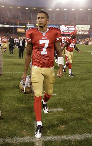 San Francisco 49ers quarterback Colin Kaepernick (7) walks off the field after a preseason NFL football game against the Houston Texans in San Francisco, Saturday, Aug. 27, 2011. (AP Photo/Paul Sakuma) Photo: Paul Sakuma, ASSOCIATED PRESS