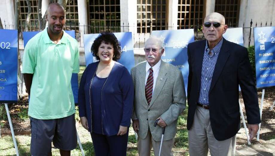 Sports daily -  San Antonio Sports Hall of Fame announces it's Class of 2012 with the names of (left to right) Brue Bowen, Leticia Morales-Bissaro, Lt. Col. John Russell, and Stan Bonewitz, Sr., at the Dominion Country Club. Monday, Oct. 17, 2011.  David Hill, also selected, was not present for the announcement.   Photo Bob Owen/rowen@express-news.net (SAN ANTONIO EXPRESS-NEWS)