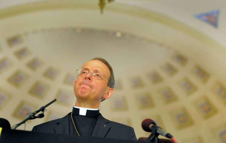 Archbishop William E. Lori addresses those in attendance during an official announcement at the Baltimore Basilica, naming Bishop Lori of the Diocese of Bridgeport, as the 16th Archbishop of Baltimore Tuesday, March 20, 2012. Photo: Karl Merton Ferron, Karl Merton Ferron/Baltimore Sun / Connecticut Post Contributed The Baltimore Sun
