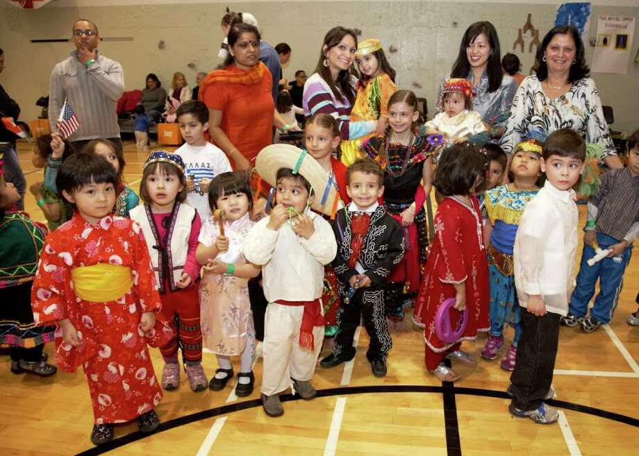 Children wear native costumes at the YWCA Greenwich Annual Preschool Multicultural Fair, which was held recently. Photo: Contributed Photo / Greenwich Citizen
