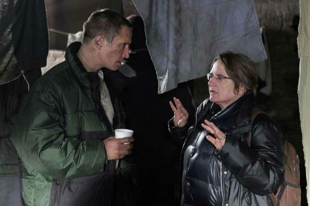 Benno FA¼rmann and Agnieszka Holland (director) on setof