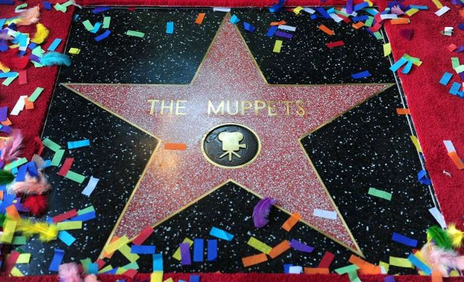 "The just unveiled Muppets Star on Hollywood's Walk of Fame in front of the El Capitan Theater in Hollywood on March 20, 2012 in California. Since ""The Muppet Show"" began in 1976, they have been embraced by audiences worldwide and several Muppets were on hand for the ceremony including Kermit the frog, Miss Piggy, Fozzie, Gonzo, Animal, Pepe, Sweetums and the newest Muppet, Walter. (FREDERIC J. BROWN / AFP/Getty Images)"