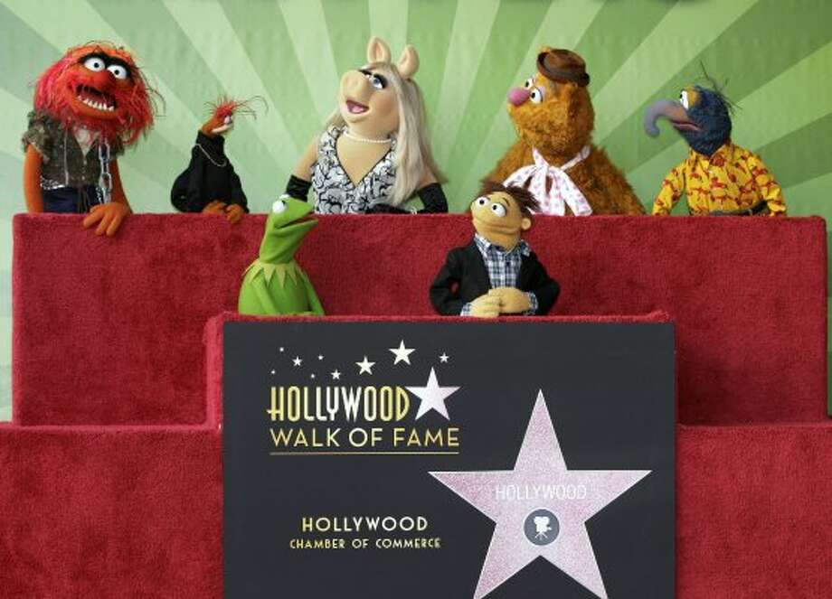 The Muppets as they are honored with a Star on the Hollywood Walk of Fame in Los Angeles on Tuesday, Mar. 20, 2012.  Muppets, top left to right: Animal, Pepe, Miss Piggy, Fozzie, Gonzo. Lower, left to right: Kermit the Frog and Walter.  (Damian Dovarganes / Associated Press)