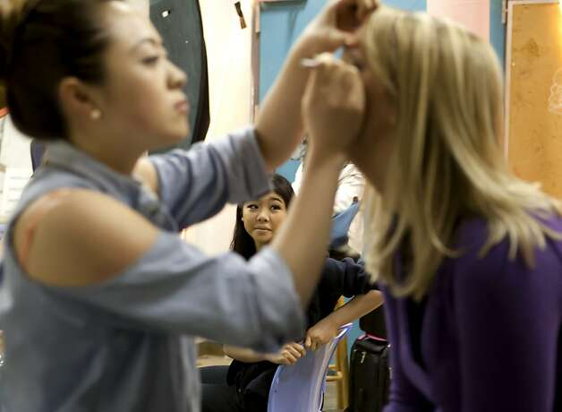 Grace Grant, Miss GOlden Gate's Outstanding Teen, watches as the contestants have makeup applied backstage on Sunday during the Miss San Francisco beauty pageant. Beauty Pageant contestants from across the Bay Area met at the Ruth Asawa School of the Arts, Dan Kryston Memorial Theater on Sunday for the annual Miss San Francisco preliminary competition for Miss California. Photo: Kevin Johnson, The Chronicle