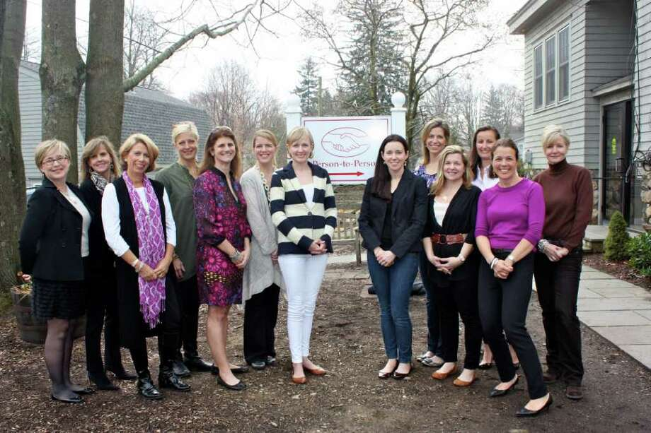 From left, Opus for Person-to-Person founding members Lee Hulings and Susan Hamill; former presidents Julie Bauer, Kristin Edwards, Kim Swift and Tara Leclerc; current Co-President Sara Franzese; and former presidents Kaitlyn Troy, Beth Williams, Missy Radin, Liz Koons, Alex Eising and Holly Hurd. Photo: Contributed Photo