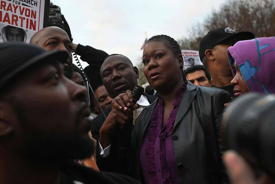 "Sybrina Fulton, mother of slain teenager Trayvon Martin, speaks at the Million Hoodies March on March 21, 2012 in New York City. The family members joined hundreds of protesters calling for justice in the killing of Trayvon Martin, 17, who was was pursued and shot on February 26 in Sanford, Florida by ""neighborhood watch"" member George Zimmerman, reportedly because the teenager's hoodie made him look suspicious. Under Florida's ""Stand Your Ground"" law, Zimmerman has not been charged with a crime in the shooting. Photo: John Moore, Getty Images"