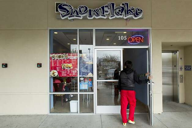 Snowflake Cafe and dessert pictured in Pleasanton, Calif. on Thursday, March 15, 2012. Snowflake is one of many asian dessert cafes that serves flavored shaved ice, an increasingly popular Taiwanese dessert in the Bay Area. Founded by husband and wife team Janice and Jeff Kou in 2011 after more than year of research, Snowflake is said to be the only Bay Area dessert cafe that makes their own flavored ice blocks in-house, 14 in all, while taking customers' unique flavor requests such as taro, ginger, yogurt and black sesame. Photo: Stephen Lam, Special To The Chronicle
