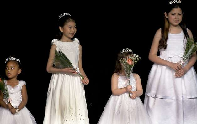 Little Princesses line the stage during Sunday's Miss San Francisco Beauty Pageant. Beauty Pageant contestants from across the Bay Area met at the Ruth Asawa School of the Arts, Dan Kryston Memorial Theater on Sunday for the annual Miss San Francisco preliminary competition for Miss California. Photo: Kevin Johnson, The Chronicle