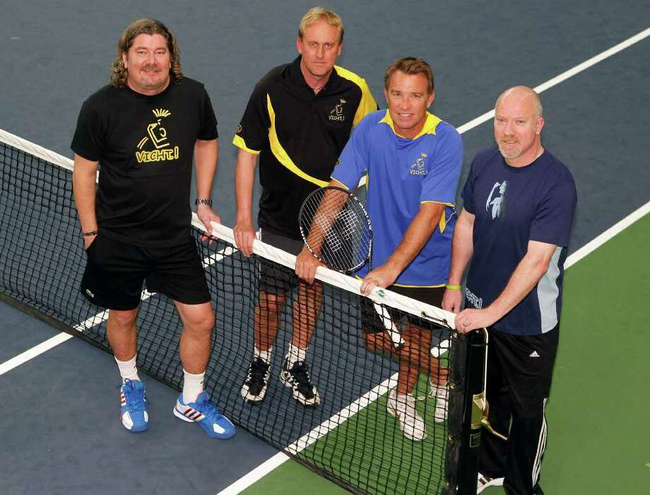 Tennis coach Peter Lundgren left, Galleria Tennis and Athletic Club General Manager Ville Jansson, Johan Kjellsten and GTAC Tennis Director and Club Manager Niclas Kroon pose for a portrait at the Galleria Tennis and Athletic Club Wednesday, March 21, 2012, in Houston. ( James Nielsen / Chronicle ) Photo: James Nielsen / © 2012 Houston Chronicle