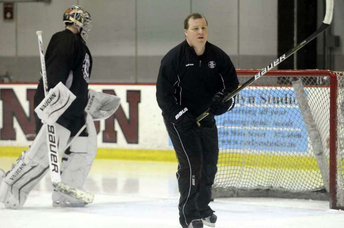 Jason Tapp Union College men's hockey goaltender coach during practice in Schenectady, NY Tuesday March 20, 2012.( Michael P. Farrell/Times Union )