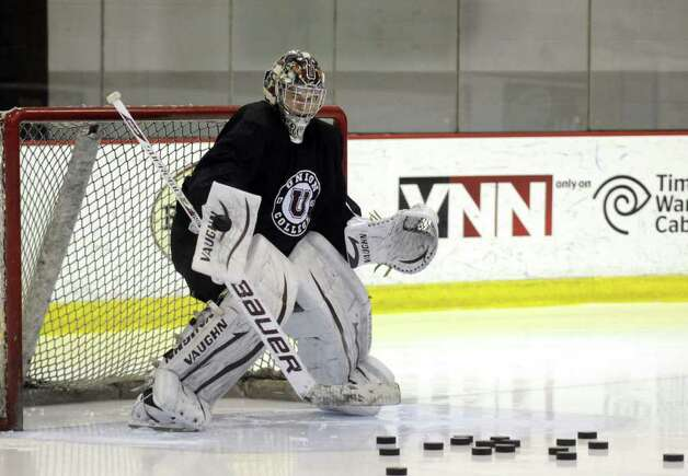 Union College men's hockey goaltender Troy Grosenick during practice in Schenectady, NY Tuesday March 20, 2012.( Michael P. Farrell/Times Union ) Photo: Michael P. Farrell