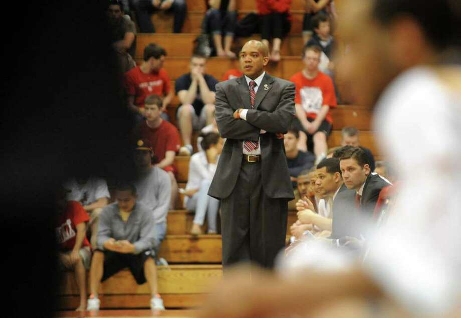 Fairfield University Head Coach Sydney Johnson during third round round CIT post season mens basketball tournament action against Robert Morris in Fairfield, Conn. on Wednesday March 21, 2012. Photo: Christian Abraham / Connecticut Post