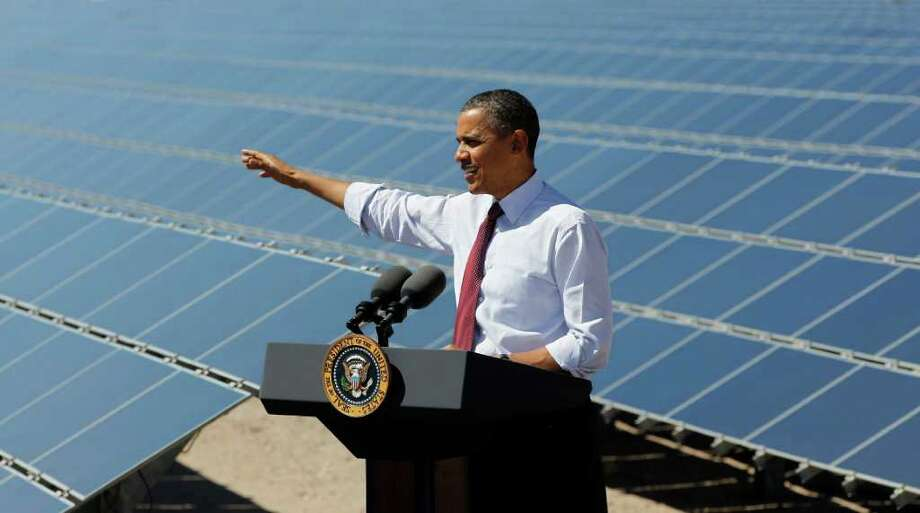 President Barack Obama speaks at Copper Mountain Solar 1 Facility in Boulder City, Nev.,Wednesday, March, 21, 2012. (AP Photo/Pablo Martinez Monsivais) Photo: Pablo Martinez Monsivais